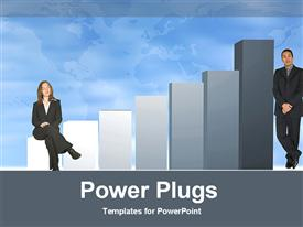 PowerPoint template displaying business couple showing company growth in the background.