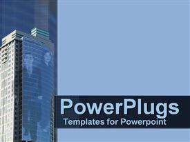 PowerPoint template displaying business couple on skyscraper in corporate blue in the background.