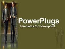 PowerPoint template displaying two business man with papers walking and discussing in office building