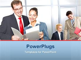 PowerPoint template displaying four business men and women smiling and looking at reports