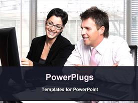 PowerPoint template displaying business discussion in an office in the background.