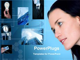 PowerPoint template displaying woman looking at depictions of business and innovation