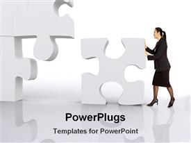 PowerPoint template displaying business lady with puzzle in the background.