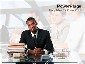 PowerPoint template displaying smiling business man in black suit and tie sitting behind desk with empty inbox and full outbox