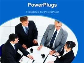 PowerPoint template displaying business persons discuss at table with cup of coffee