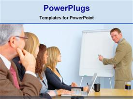 PowerPoint template displaying business meeting in conference room in the background.