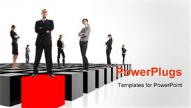 PowerPoint template displaying group of Business men and women standing on tiles