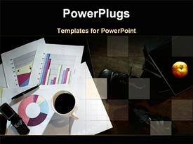 PowerPoint template displaying business charts and diagrams on papers, coffee cup, cell phone, apple