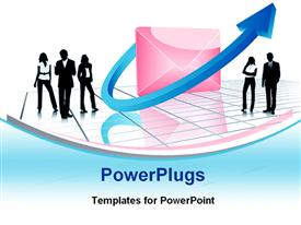 PowerPoint template displaying business men and women silhouettes gathered around pink envelope wrapped with blue arrow