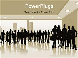 PowerPoint template displaying business people. talking in the background.