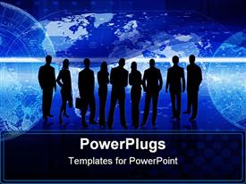PowerPoint template displaying group of silhouetted business men and women standing together in front of electric blue world map background