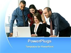 PowerPoint template displaying four people smiling and staring at an open laptop