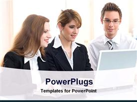 PowerPoint template displaying three formal dressed persons look to a laptop screen