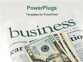 PowerPoint template displaying business section of a newspaper and dollars in the background.