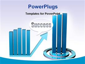 PowerPoint template displaying two separate blue colored bar charts with the text Success