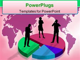 PowerPoint template displaying silhouette of business persons standing on pies of pie chart