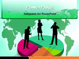 PowerPoint template displaying silhouette of people standing on pies of colored pie chart