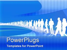 PowerPoint template displaying white silhouettes working men and women line up blue background