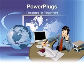 PowerPoint template displaying busy business man at office in the background.