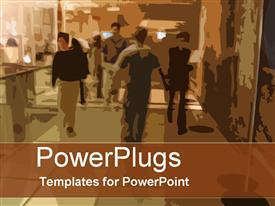 PowerPoint template displaying busy times in the background.