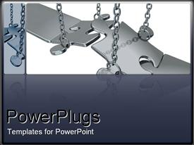 PowerPoint template displaying metal puzzle chains metaphor missing problem solution grey background