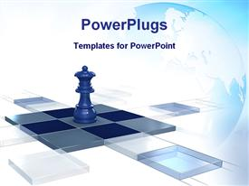 Chess strategy game queen 3D chessboard template for powerpoint