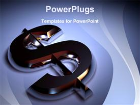 PowerPoint template displaying chrome plated dollar symbol - rendered in 3D in the background.