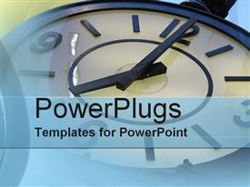 PowerPoint template displaying old fashioned clock telling time on a blue background