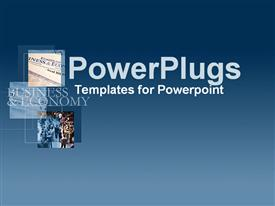 PowerPoint template displaying collage in blue of international business results in the background.