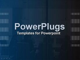 PowerPoint template displaying collage in deep blue of an intense business/board in the background.