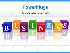 PowerPoint template displaying eight multicolored cubes with a text which spells out the word