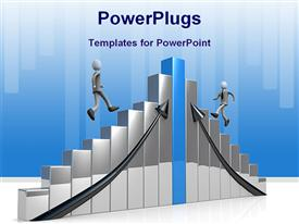 PowerPoint template displaying computer generated 3D depiction steps of business success in the background.