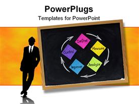 PowerPoint template displaying colorful continuous improvement process or cycle