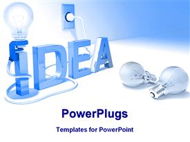 PowerPoint template displaying letters spelling idea with light bulb plugged into outlet