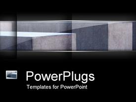 PowerPoint template displaying close up depiction of gray concrete cubes surrounded by black background