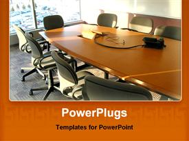 PowerPoint template displaying brightly lit conference room with a long table and chairs