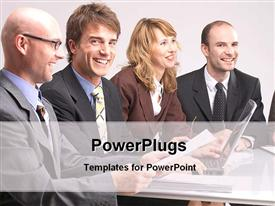 PowerPoint template displaying corporate executives in a business meeting in the background.