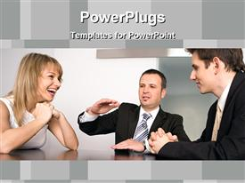 PowerPoint template displaying three business people sitting together and happily having a discussion