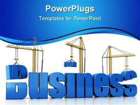 PowerPoint template displaying construction cranes building 3D business text on white background