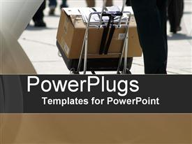 PowerPoint template displaying deliveries in the background.