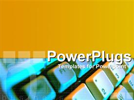 PowerPoint template displaying digital business with keyboard montage in the background.