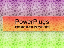 PowerPoint template displaying colorful background with purple, orange and green dots