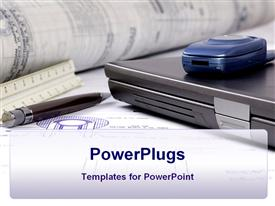 PowerPoint template displaying engineer's tools of the trade lay on a desk in the background.