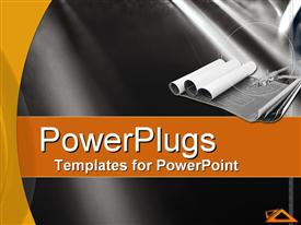 PowerPoint template displaying three rolls of architectural plans on a plain black surface