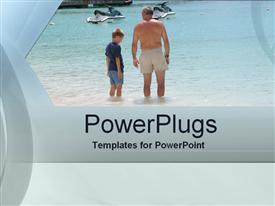 PowerPoint template displaying a kid with his father in the water