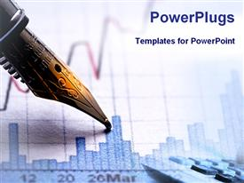 PowerPoint template displaying financial graph with part of elegant pen
