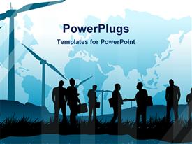 PowerPoint template displaying silhouettes of people with suitcases on grass and windmills, world map in the background