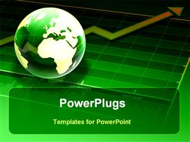 PowerPoint template displaying glass globe sitting on green business chart with arrow showing growth