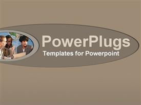PowerPoint template displaying plain grey colored tile with three humans reading together