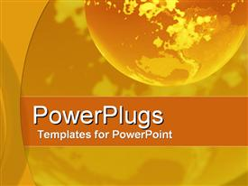 PowerPoint template displaying glowing earth globe with shades of yellow and orange